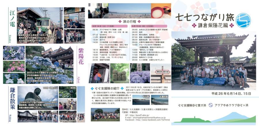 七七つながり旅 鎌倉紫陽花編の記録 表